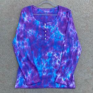 CUSTOM Tie Dye Ribbed Henley Shirt Rich Purple and Blue XL